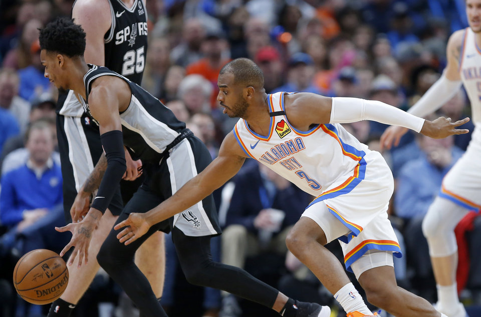 Photo - Oklahoma City's Chris Paul (3) defends  San Antonio's Dejounte Murray (5) during an NBA basketball game between the Oklahoma City Thunder and the San Antonio Spurs at Chesapeake Energy Arena in Oklahoma City, Tuesday, Feb. 11, 2020. [Bryan Terry/The Oklahoman]