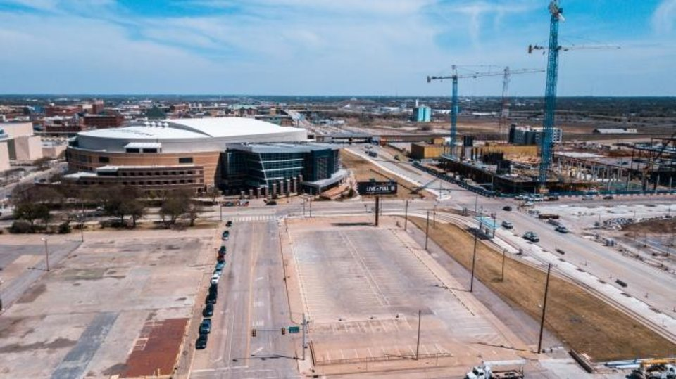 Photo -  This drone image shows Chesapeake Energy Arena and, to the right, Oklahoma City Boulevard, looking east. [David Morris/The Oklahoman]