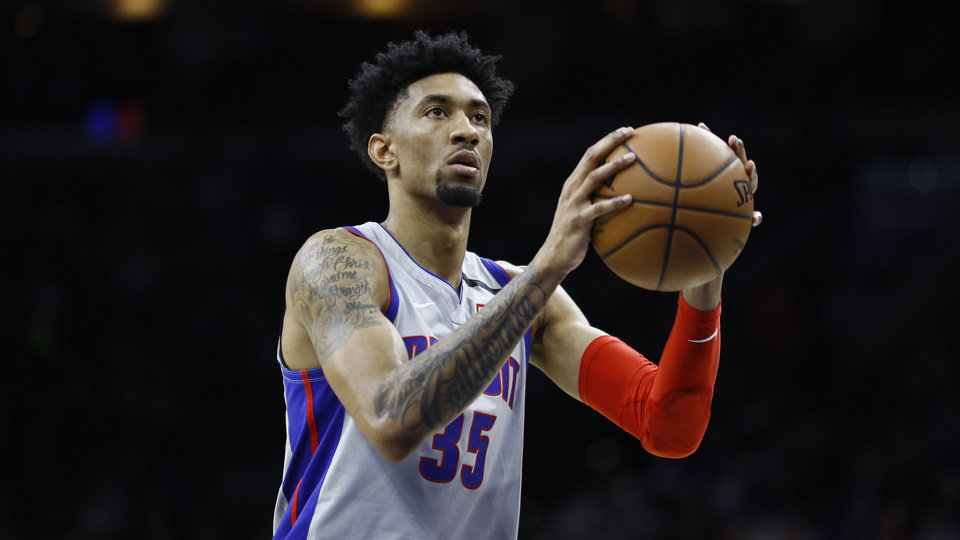 Photo - Detroit Pistons' Christian Wood plays during an NBA basketball game against the Philadelphia 76ers, Wednesday, March 11, 2020, in Philadelphia. (AP Photo/Matt Slocum)