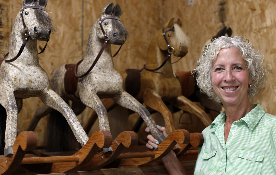 Photo -  Jackie Wilson makes one-of-a-kind rocking horses at her Edmond workshop. One of her horses now belongs to Prince George.  PHOTO BY SARAH PHIPPS, THE OKLAHOMAN   SARAH PHIPPS -  SARAH PHIPPS