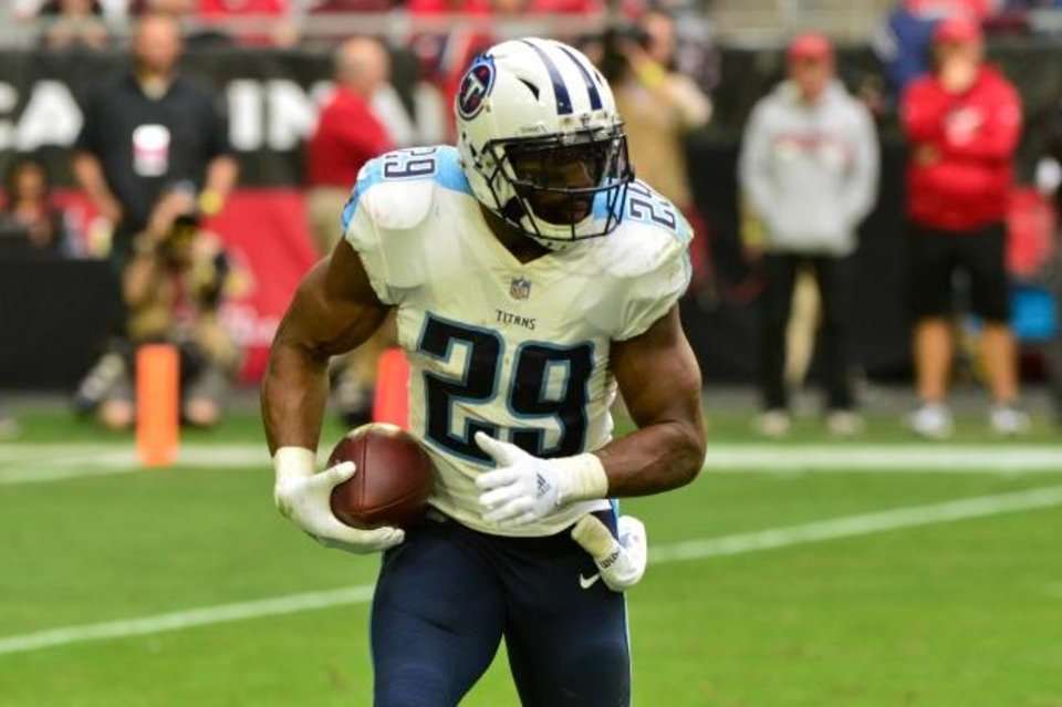 Photo -  DeMarco Murray, shown here in 2017 with the Tennessee Titans, is Oklahoma's new running backs coach. Murray also played pro ball with the Dallas Cowboys and the Philadelphia Eagles. [Matt Kartozian/USA TODAY Sports]