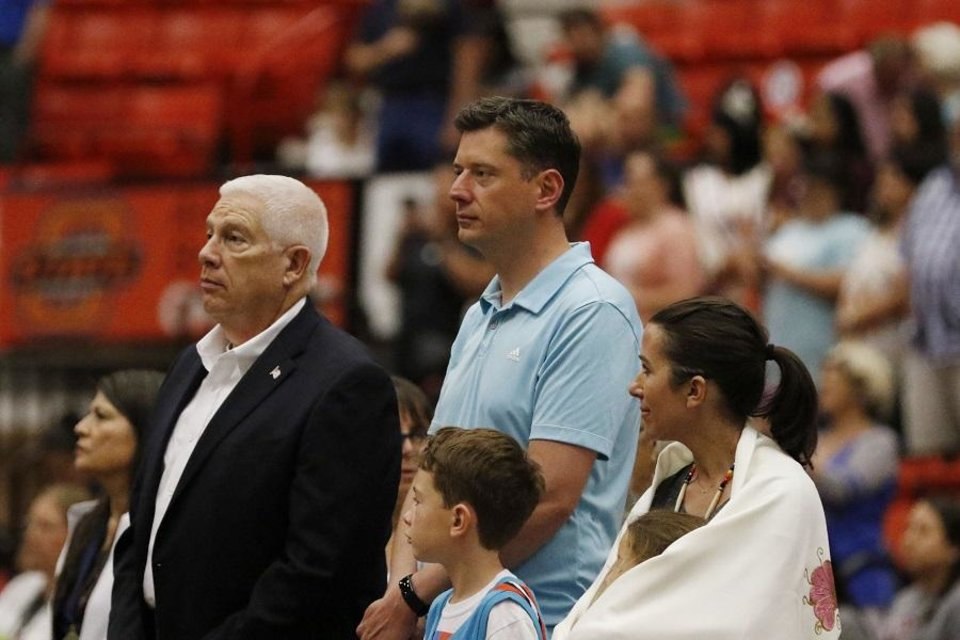 Photo - Mayor David Holt, center, is introduced during the 2019 Red Earth Festival at the Cox Convention Center in Oklahoma City, Oklahoma Saturday, June 8, 2019.  [Paxson Haws/The Oklahoman]