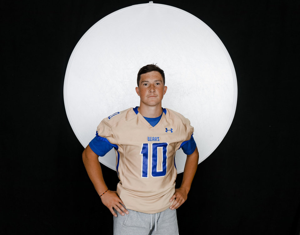 Photo - Noble Austin Fisher poses for a photo during the Fall high school sports media day at Bishop McGuinness High School in Oklahoma City, Okla. on Wednesday, Aug. 14, 2019.   [Doug Hoke/The Oklahoman]