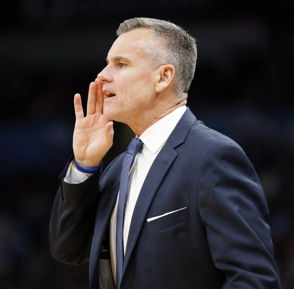 Photo - Oklahoma City coach Billy Donovan gives instructions to his team during an NBA basketball game between the Oklahoma City Thunder and the Washington Wizards at Chesapeake Energy Arena in Oklahoma City, Friday, Oct. 25, 2019. The Wizards won 97-85. [Nate Billings/The Oklahoman]