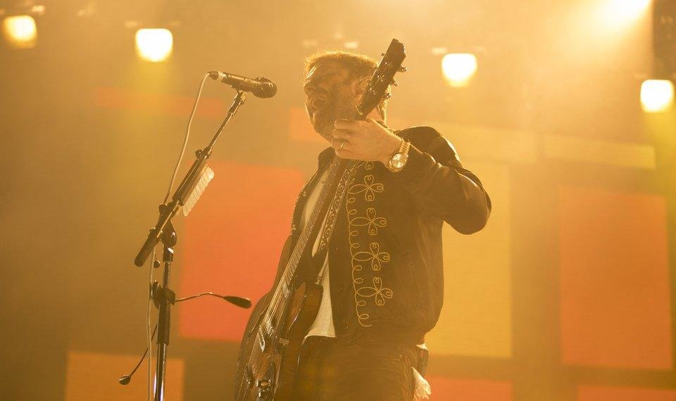 Photo - Caleb Followill, of Kings of Leon, performs live Oct. 4, 2017, at the Chesapeake Energy Arena. [The Oklahoman Archives]