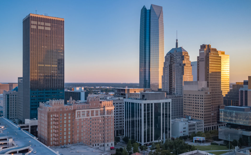 Photo - Drone image of BancFirst Tower and OKC downtown skyline. Image by Dave Morris.