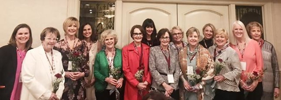 Photo -  Front row: Kathy Luke Griffin, Otie Ann Delaporte Fried, Linda Lake Young, Susan Samis Hoffman, Linda Samis James, Sally Sewell Wightman, Chris Mills Verity and Ellen Maddux Lisle. Back row: Katie Cunningham, Julie McKone, Lawre Everest, Betty Huckabay, Heather Showalter and Carolyn Zachritz. [PHOTO PROVIDED]