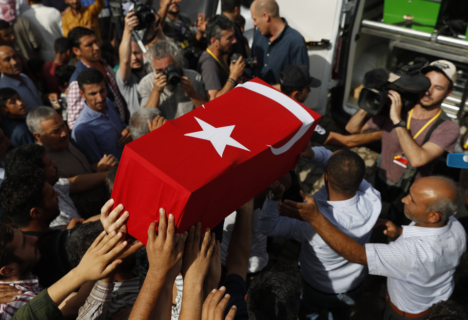 Photo -  Mourners carry the coffin of ten-month-old Mohammed Omar Saar, killed during incoming shelling from Syria Thursday, in Akcakale, Sanliurfa province, southeastern Turkey, at the border with Syria, Friday, Oct. 11, 2019. (AP Photo/Lefteris Pitarakis)