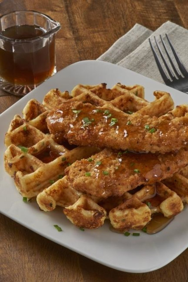Photo -  Classic chicken and waffles can be made at home using local ingredients. [Photo provided]