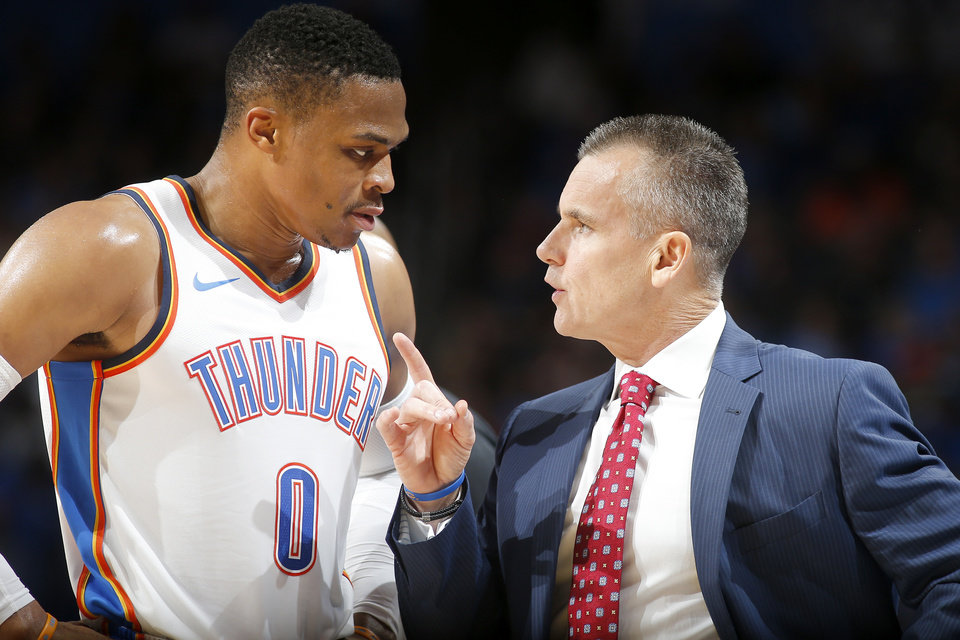 Photo - Oklahoma City coach Billy Donovan talks with Oklahoma City's Russell Westbrook (0) during an NBA basketball game between the Oklahoma City Thunder and the Indiana Pacers at Chesapeake Energy Arena in Oklahoma City, Wednesday, Oct. 25, 2017. The Thunder won 114-96. Photo by Bryan Terry, The Oklahoman