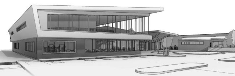 Photo -  Early designs for the third MAPS 3 senior health and wellness center, at NE 36 and Lincoln Boulevard, incorporate lots of glass and natural light. [City of Oklahoma City/Hornbeek Blatt Architects]