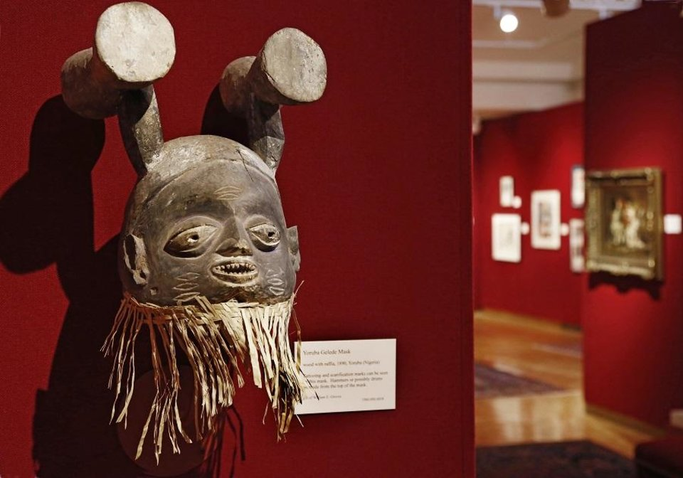 Photo - A Yoruba Gelede Mask from Nigeria is displayed at the Mabee-Gerrer Museum of Art Friday, Aug. 9, 2019. The Shawnee museum is celebrating its centennial in 2019. [Jim Beckel/The Oklahoman]