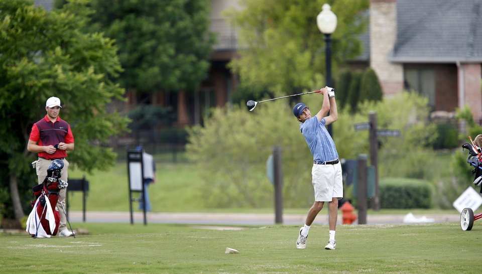 Photo - Carson Francis, Edmond North High School golfer, on a tee box during Class 6A boys golf state tournament at Rose Creek golf course on Monday, May 6, 2019.  [Jim Beckel/The Oklahoman]