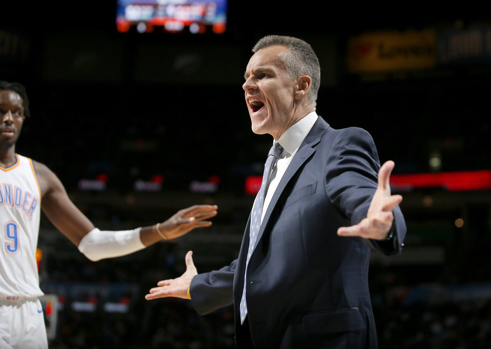 Photo - Oklahoma City coach Billy Donovan shouts during an NBA basketball game between the Oklahoma City Thunder and the Sacramento Kings at Chesapeake Energy Arena in Oklahoma City, Saturday, Feb. 23, 2019. Photo by Bryan Terry, The Oklahoman