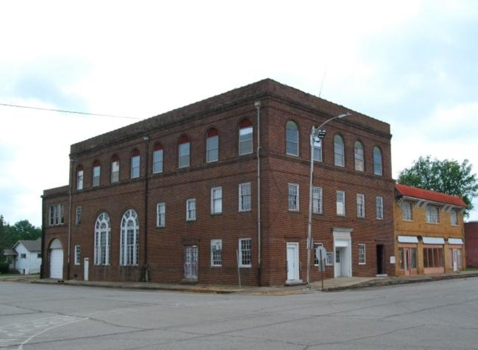 Photo -  Old City Hall, Theater and Masonic Lodge is shown in Heavener.  [PHOTO PROVIDED BY STATE HISTORIC PRESERVATION OFFICE]