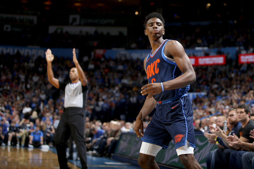 Photo -  Oklahoma City's Hamidou Diallo looks toward the bench after splashing a 3-pointer during Sunday's game against Sacramento at Chesapeake Energy Arena. [PHOTO BY BRYAN TERRY, THE OKLAHOMAN]