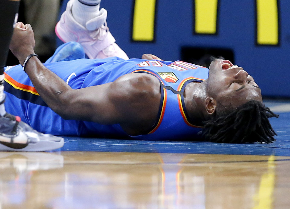 Photo - Oklahoma City's Luguentz Dort (5) celebrates a basket and foul during the NBA basketball game between the Oklahoma City Thunder and the Portland Trail Blazers at the Chesapeake Energy Arena in Oklahoma City, Saturday, Jan. 18, 2020.  [Sarah Phipps/The Oklahoman]