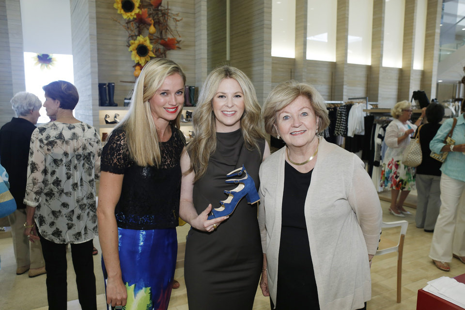 Photo -  Barbara Jansen, Marion Parke and Linda Garrett, Marion's mom, are shown Aug. 20, 2015, at Balliet's during the Marion Parke Shoe Collection opening Thursday. [Photo by Doug Hoke, The Oklahoman Archives]