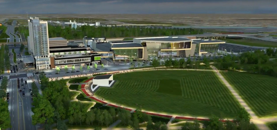 Photo -  The area known as Core to Shore will be transformed with a new convention center, Omni Hotel and Scissortail Park as shown in this still captured from an animation by Skyline Ink. The convention center was designed by Populous and will be built by Flintco.