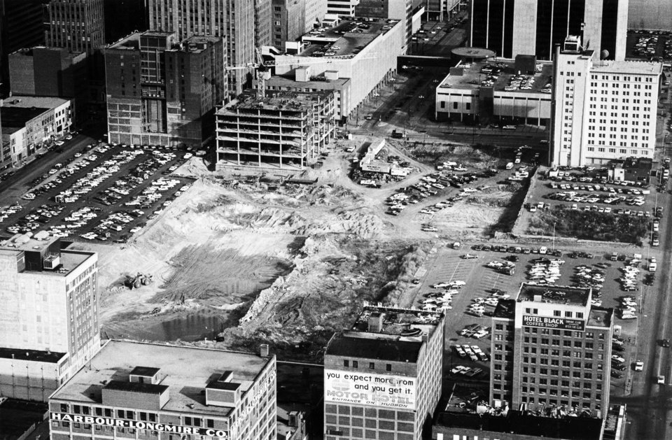 "Photo - ""Like a seed planted in fertile ground, this aerial photo shows the Galleria beginning to take shape with dirtwork on the site.  The complex will be located in the downtown area and is part of Oklahoma City's Urban Renewal program that includes businesses, stores and botanical gardens.""
