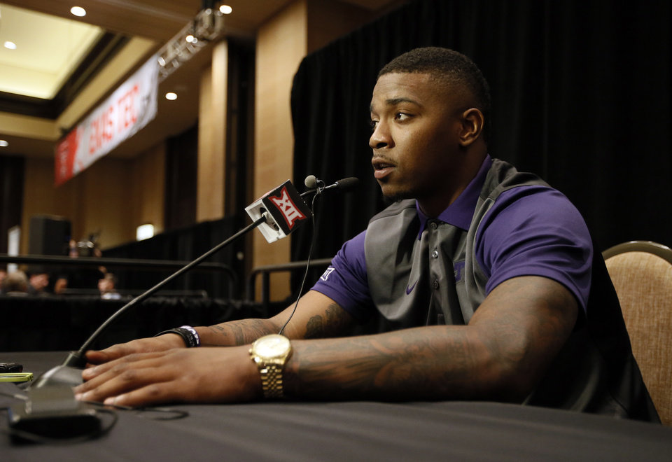 Photo - TCU quarterback Trevone Boykin talks to reporters during Big 12 Conference Football Media Days Monday, July 20, 2015, in Dallas. (AP Photo/Tony Gutierrez)