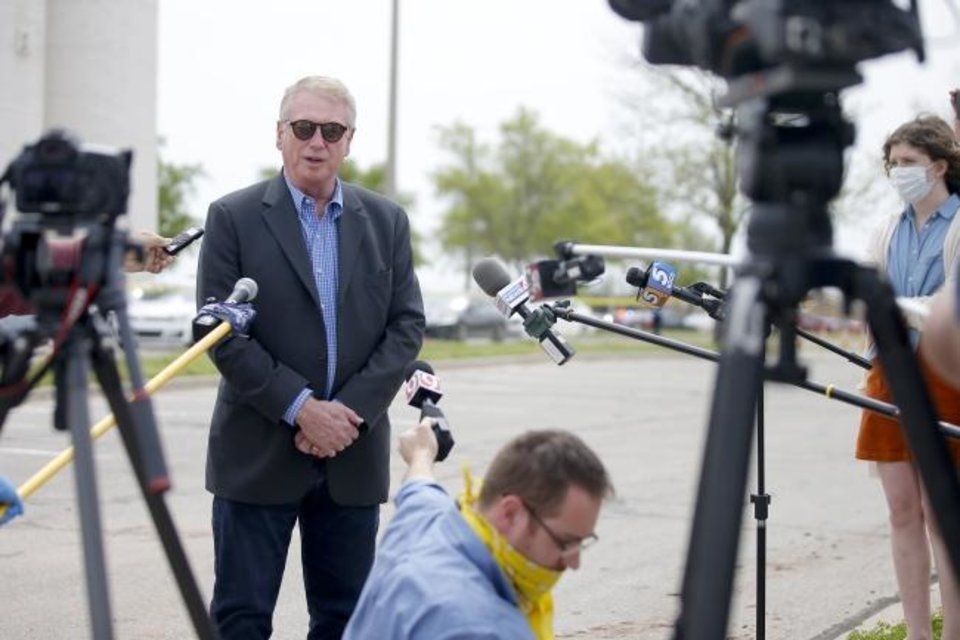 Photo -  Health Commissioner Gary Cox speaks during a press conference at a COVID-19 drive-thru testing site at Griffin Community Park in Norman, Okla., Thursday, April 9, 2020. [Bryan Terry/The Oklahoman]