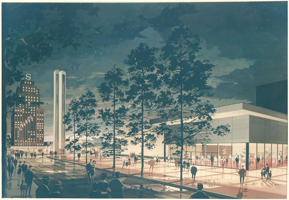 Photo - RENDERING: The original drawing for Stage Center, as done by I.M. Pei in the mid-1960s, has nothing in common with the actual theater designed by John Johansen. PHOTO PROVIDED       ORG XMIT: 1107020027001936