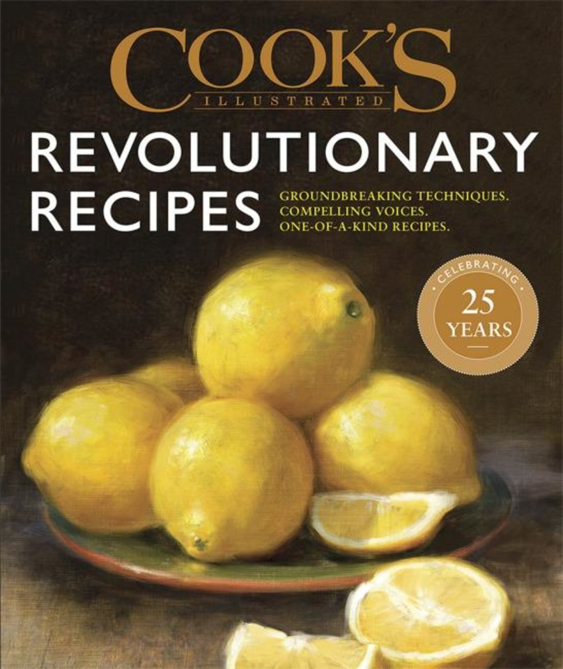 "Photo -  This image provided by America's Test Kitchen in May 2019 shows the cover for the cookbook ""Revolutionary Recipes."" It includes a recipe for Garlic Shrimp Pasta. [America's Test Kitchen/AP]"