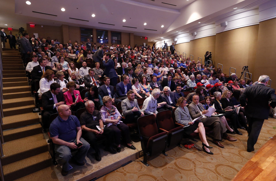 Photo - A crowd gathers for a forum for Republican candidates for governor at the Oklahoma City Museum of Art on Monday, April 23, 2018 in Oklahoma City, Okla.  Photo by Steve Sisney, The Oklahoman