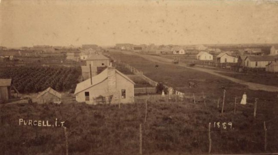 Photo -  Purcell, Indian Territory, is shown in 1889. [Virginia Sutton Collection, OHS]