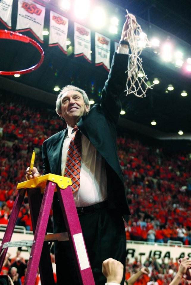 Photo - Eddie Sutton cutting the net after reaching a Final Four game in the NCAA tournament. [PHOTO PROVIDED]