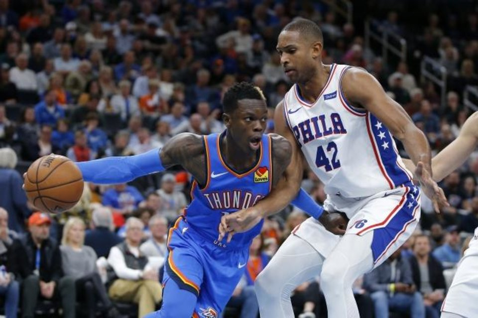 Photo -  OKC's Dennis Schroder tries to get past Philadelphia's Al Horford (42) during a 127-119 Thunder win last season. [Bryan Terry/The Oklahoman]