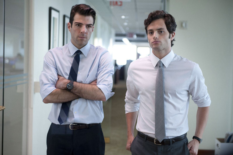 "Photo - From left, Zachary Quinto and Penn Badgley share a scene in ""Margin Call."