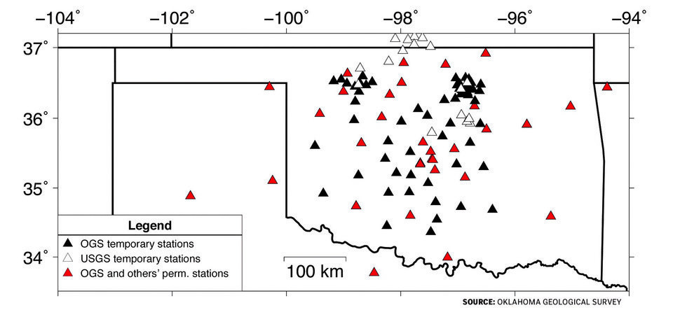 Photo -  This graphic identifies various seismic monitoring stations the Oklahoma Geological Survey uses to gather data for its earthquakes catalog.