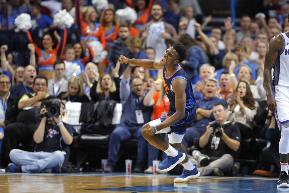 Photo - Oklahoma City's Hamidou Diallo celebrates after a dunk during an NBA basketball game between the Oklahoma City Thunder and the Sacramento Kings at Chesapeake Energy Arena in Oklahoma City, Sunday, Oct. 21, 2018. Photo by Bryan Terry, The Oklahoman