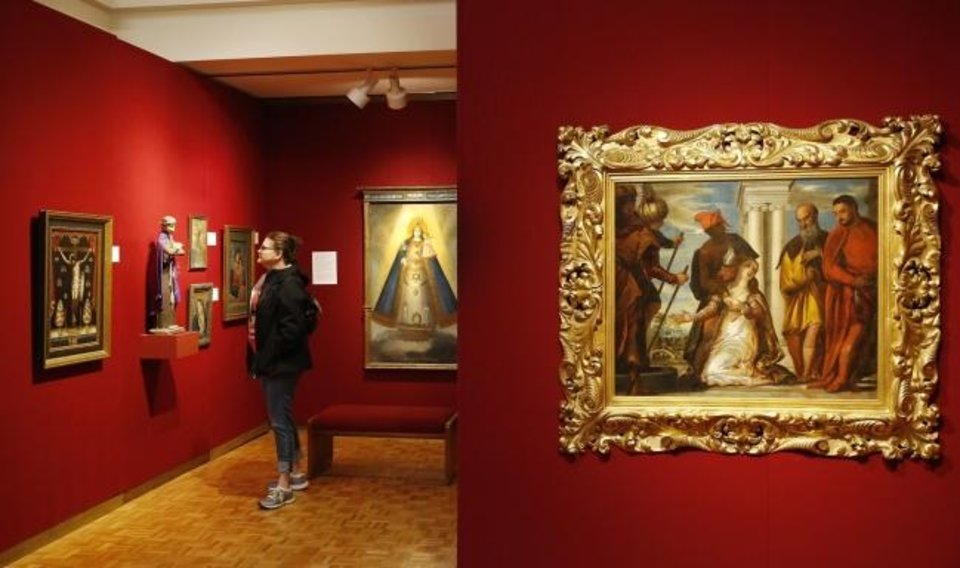 Photo -  A guest visits the Mabee-Gerrer Museum of Art in Shawnee in 2019. [The Oklahoman Archives]