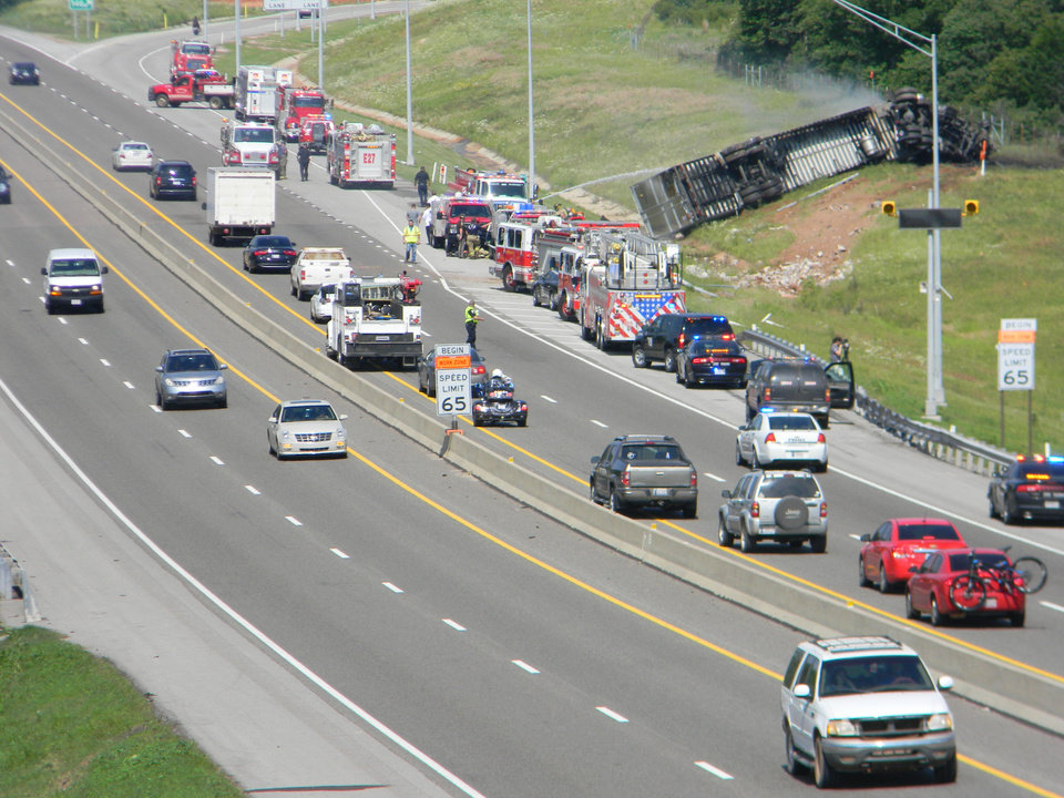 Emergency crews respond to tractor-trailer fire on Interstate 44