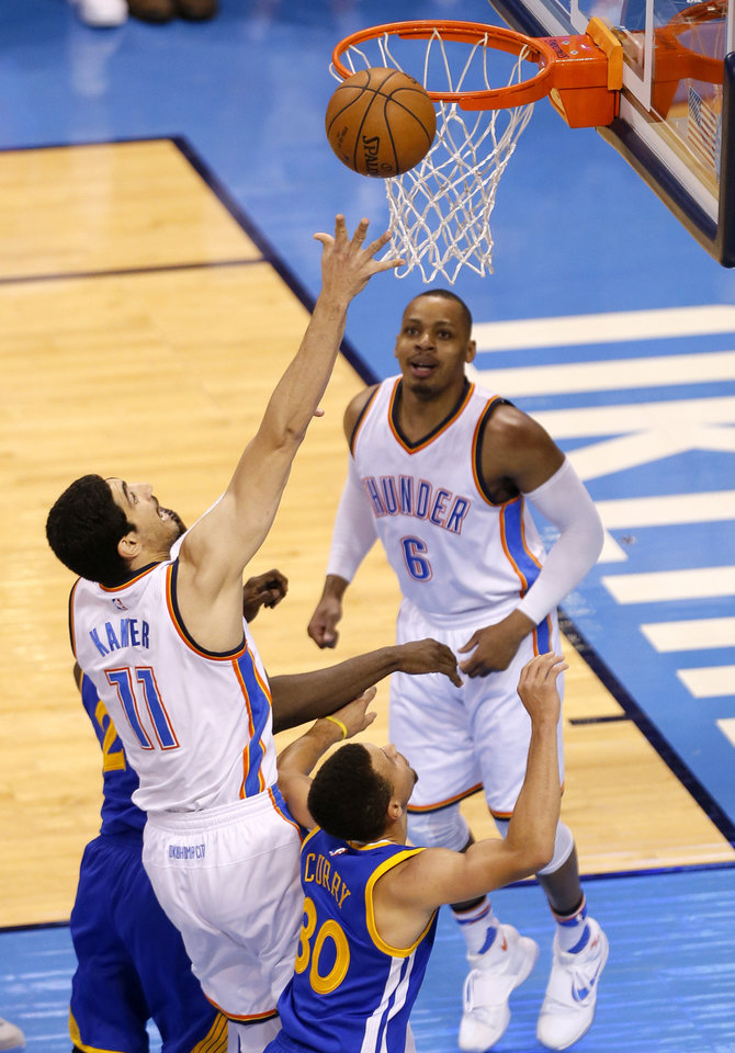 Photo - Oklahoma City's Enes Kanter (11) shoots a basket during Game 3 of the Western Conference finals in the NBA playoffs between the Oklahoma City Thunder and the Golden State Warriors at Chesapeake Energy Arena in Oklahoma City, Sunday, May 22, 2016. Photo by Sarah Phipps, The Oklahoman