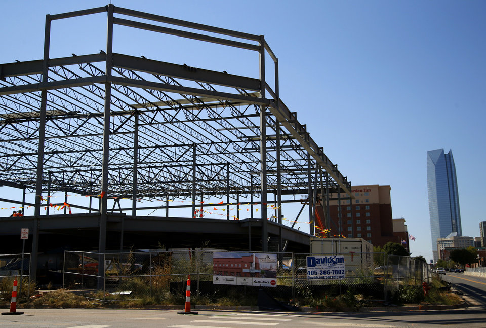 Photo -  The steel structure is up and shell work is underway for the Criterion at 500 E Sheridan Ave. [Photo by Bryan Terry, The Oklahoman]