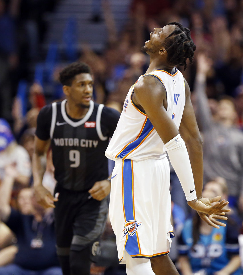 Photo - Oklahoma City's Jerami Grant (9) reacts after making a three-point shot in the fourth quarter during an NBA basketball game between the Detroit Pistons and the Oklahoma City Thunder at Chesapeake Energy Arena in Oklahoma City, Friday, April 5, 2019. Oklahoma City won 123-110. Photo by Nate Billings, The Oklahoman