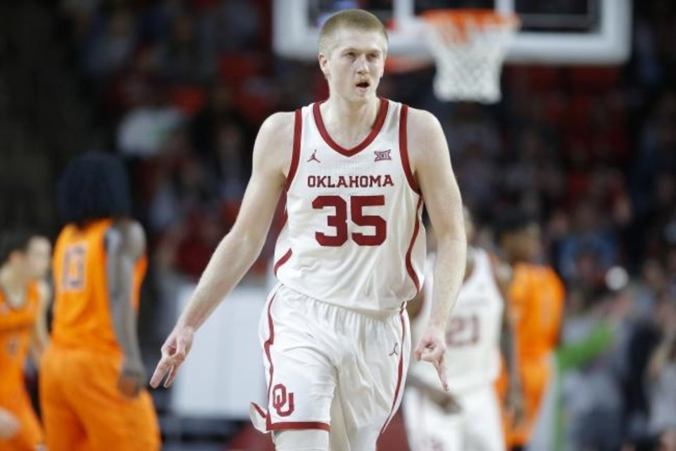 Photo -  Oklahoma's Brady Manek celebrates after a basket during the Bedlam game on Saturday in Norman. [Bryan Terry/The Oklahoman]