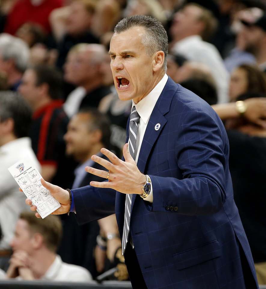 Photo - Oklahoma City coach Billy Donovan shouts during Game 5 of the second-round series between the Oklahoma City Thunder and the San Antonio Spurs in the NBA playoffs at the AT&T Center in San Antonio, Tuesday, May 10, 2016. Oklahoma City won 95-91. Photo by Bryan Terry, The Oklahoman