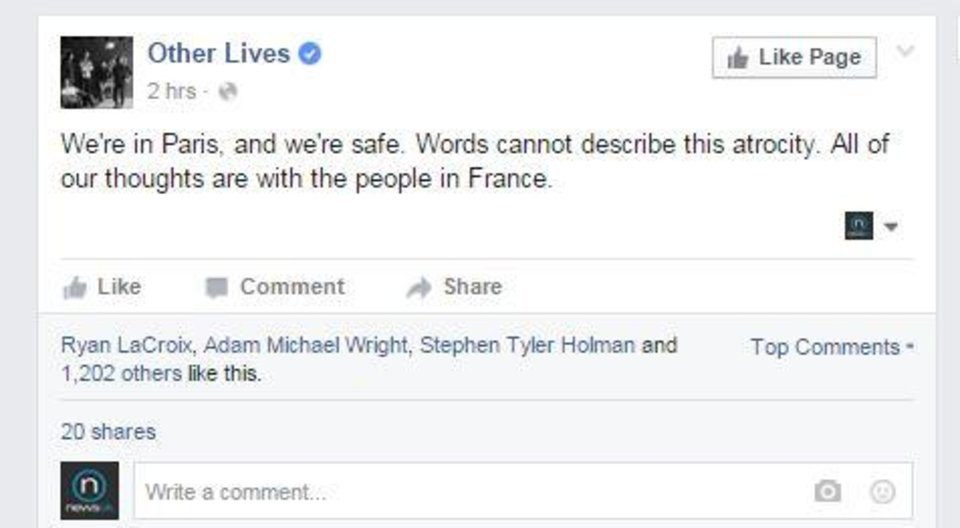 Photo - Screenshot via Other Lives' official Facebook page