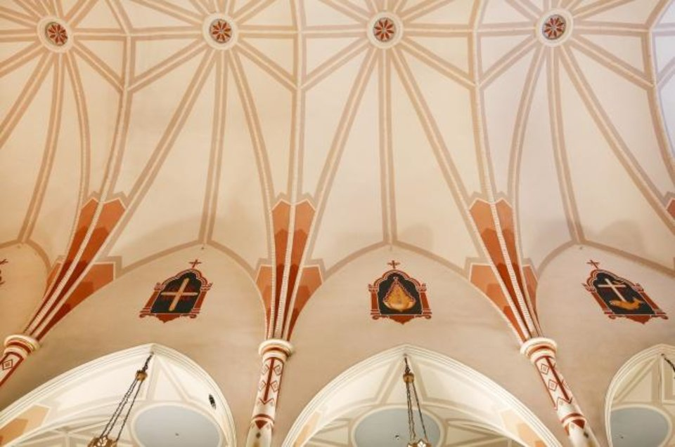 Photo -  The vaulted ceiling at St. Joseph Old Cathedral is repaired as part of a renovation effort to fix problems associated with damage sustained during the 1995 bombing of the Alfred P. Murrah Federal Building. [Jim Beckel/TThe Oklahoman]