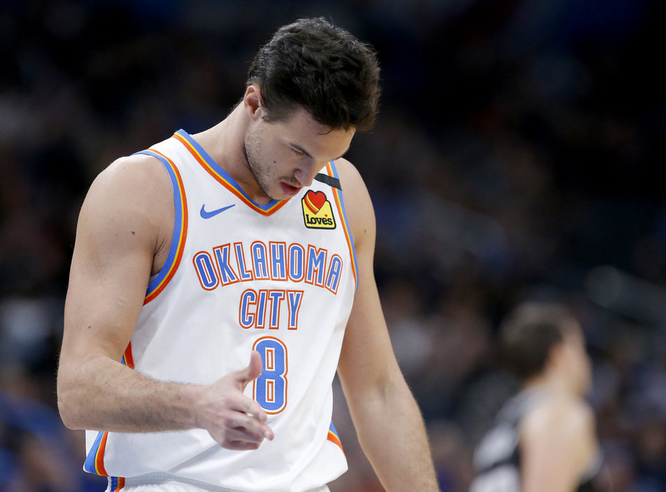 Photo - Oklahoma City's Danilo Gallinari (8) reacts after a 3-point basket during the NBA basketball game between the Oklahoma City Thunder and the Sacramento Kings at the Chesapeake Energy arena in Oklahoma City,  Thursday, Feb. 27, 2020.  [Sarah Phipps/The Oklahoman]