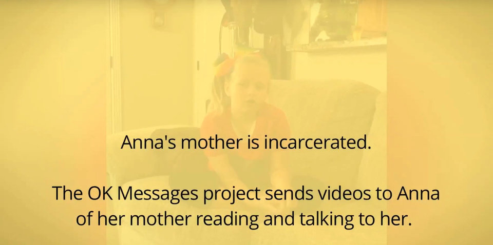 Photo -  Anna started receiving packages from OK Messages Project in 2015. In this image from a video, Anna talks about what the packages mean to her. The OK Messages Project helps connect incarcerated parents with their children. [Image provided]