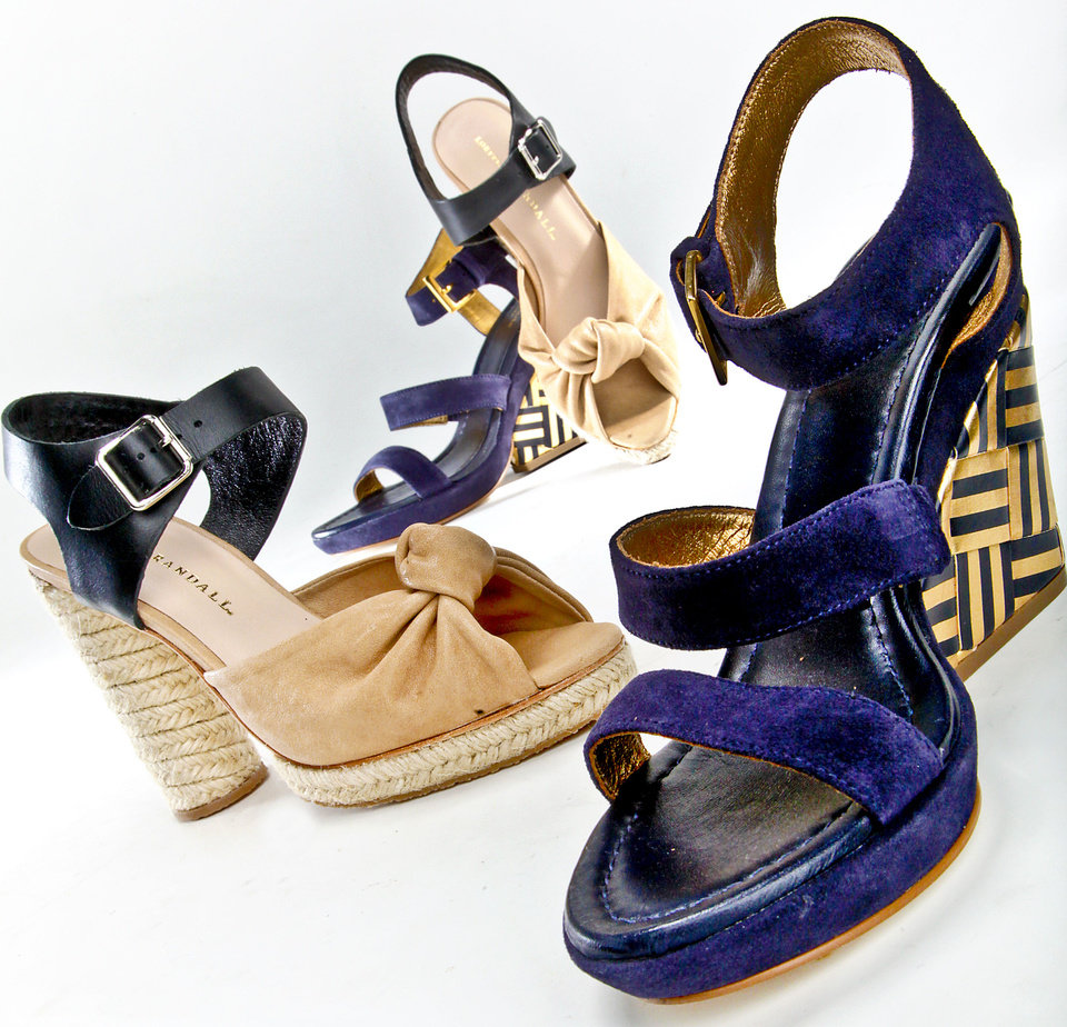 Photo - Left: Loeffler Randall nude and black two-tone pumps with chunky woven heels, sold at Heirloom Shoe. Right: navy suede wedge heels with gold and navy graphic design on wedge, by Kate Spade, sold at Pink Sugar. Photo by Chris Landsberger, The Oklahoman.  CHRIS LANDSBERGER