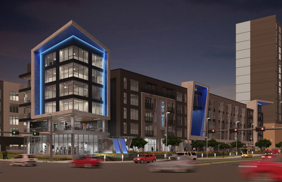Photo -  Plans for the proposed Two West apartments and retail include a design drawn to reflect the colors of the Thunder, which plays across the street at Chesapeake Arena, and angles to complement the design of the future convention center and Omni to be built next door. [Design by ADG Inc.]