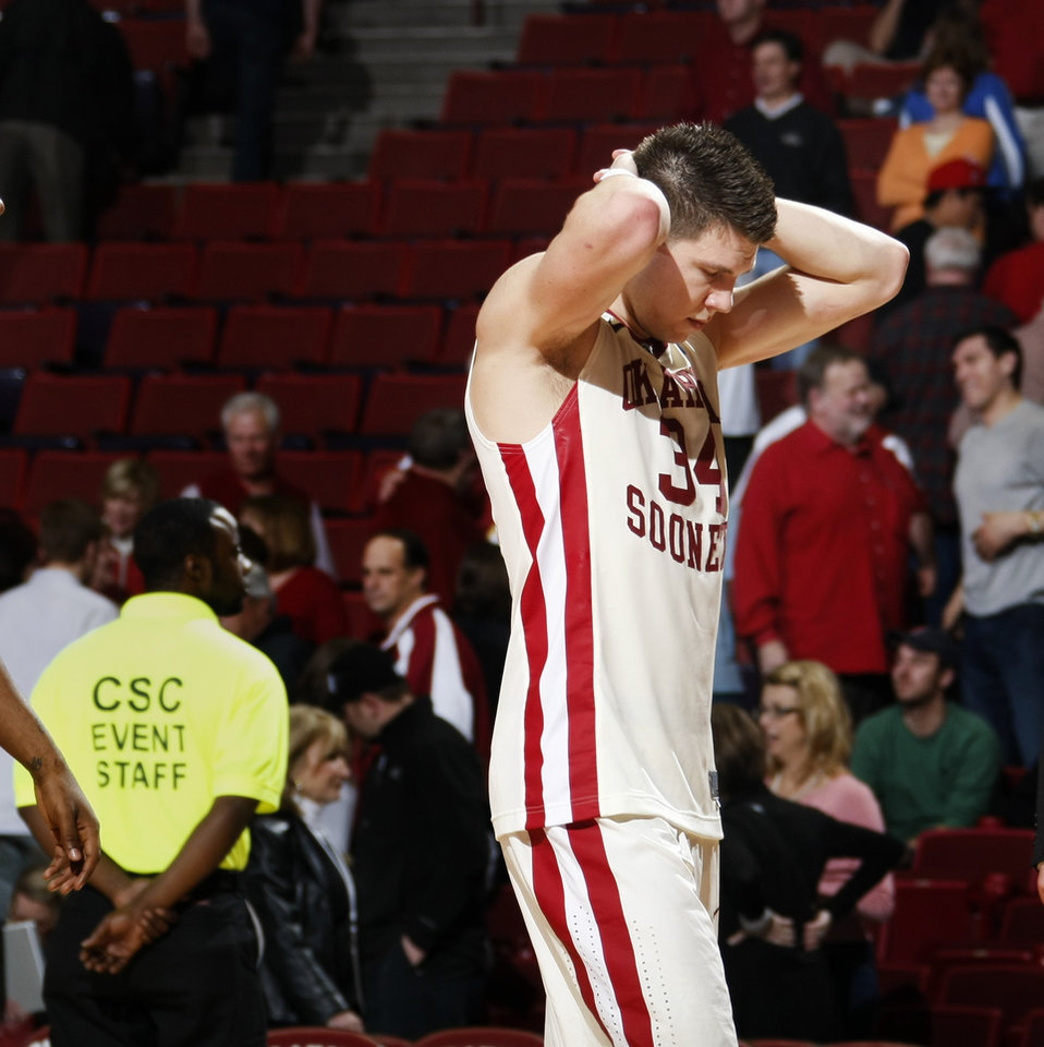 Photo By Bryan Terry, The Oklahoman Photo  Oklahoma's Cade Davis (34)  Reacts After Ou's Loss In The Ncaa College