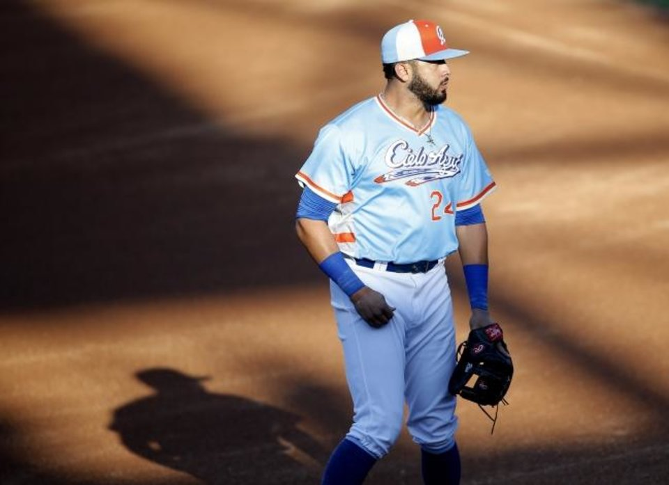 Photo -  Oklahoma City's Edwin Rios wears a special Cielo Azul uniform on Friday night at Chickasaw Bricktown Ballpark. The Dodgers are honoring the city's Hispanic and Latino communities during a homestand against the Memphis Redbirds. [Sarah Phipps/The Oklahoman]